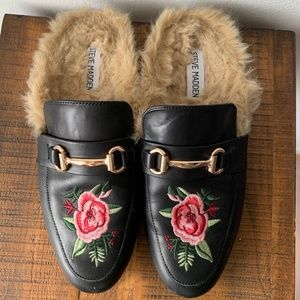 Steve Madden Faux Fur Floral Embroidered Loafers
